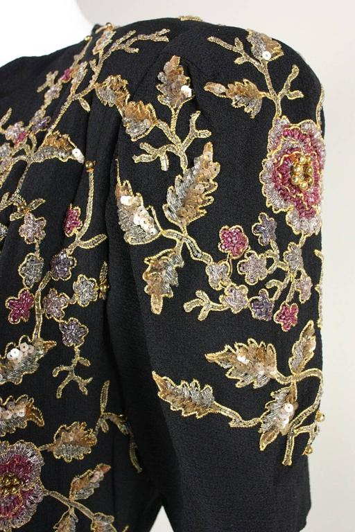 1940's Crepe Gown with Beaded Bodice For Sale 3