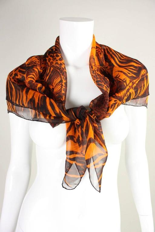 Yves Saint Laurent Chiffon Scarf with Leopard Print 4