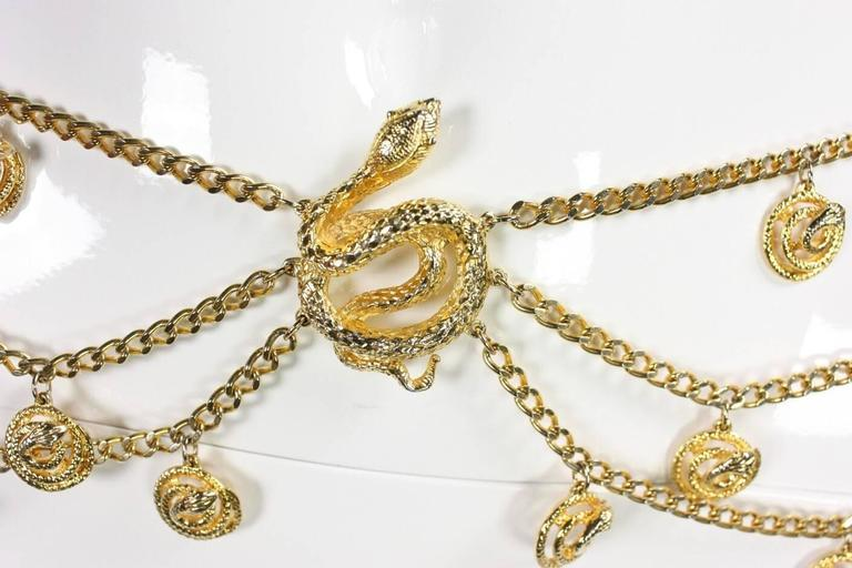 Gold-Toned Vintage Snake Chain Belt In Excellent Condition For Sale In Los Angeles, CA