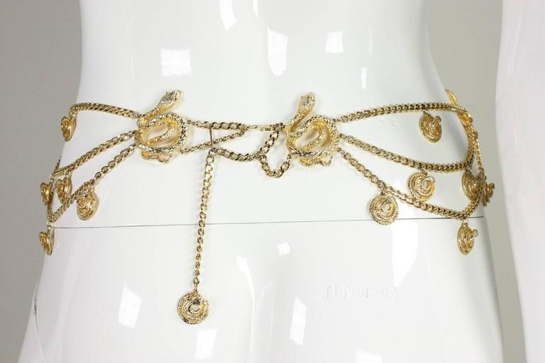 Beige Gold-Toned Vintage Snake Chain Belt For Sale