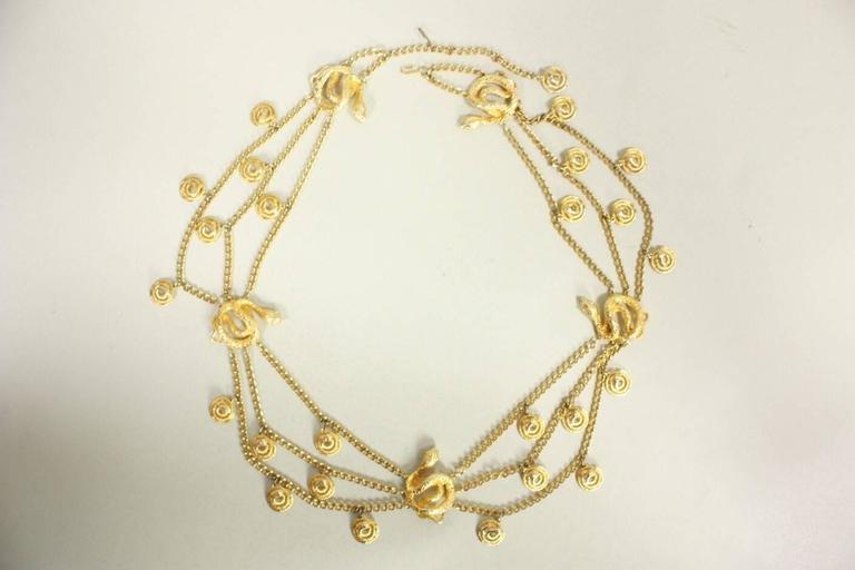 Gold-Toned Vintage Snake Chain Belt For Sale 1