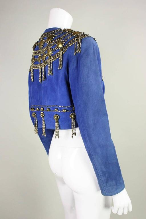1990's Gianni Versace Beaded Blue Suede Jacket 4