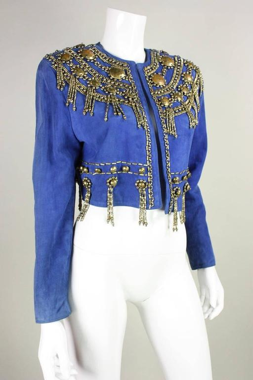 1990's Gianni Versace Beaded Blue Suede Jacket 3