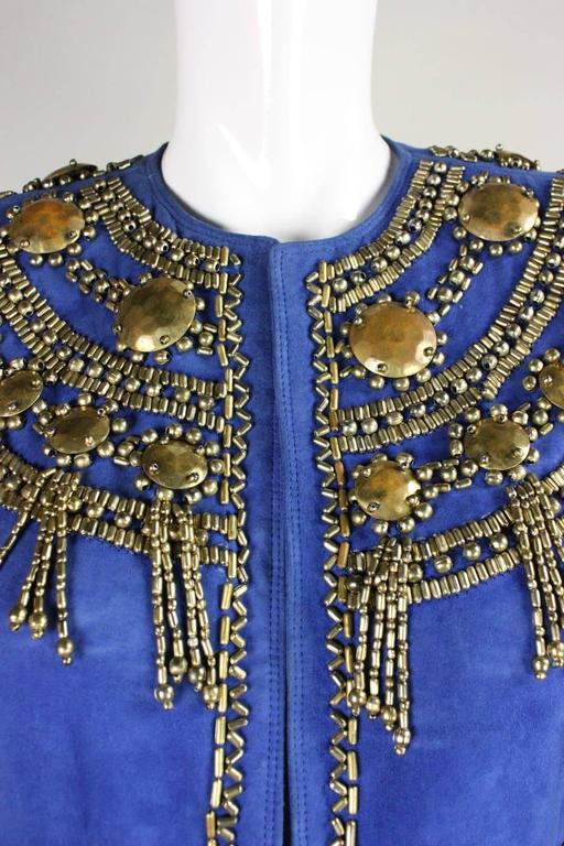 1990's Gianni Versace Beaded Blue Suede Jacket 7