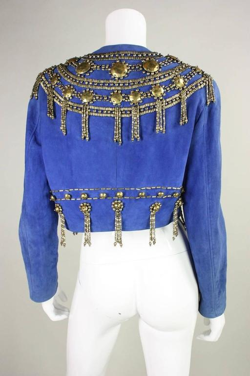 1990's Gianni Versace Beaded Blue Suede Jacket 5