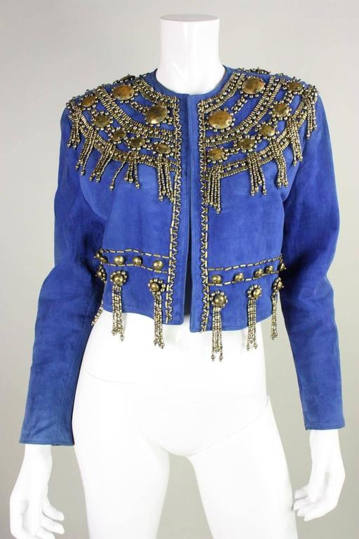1990's Gianni Versace Beaded Blue Suede Jacket 2