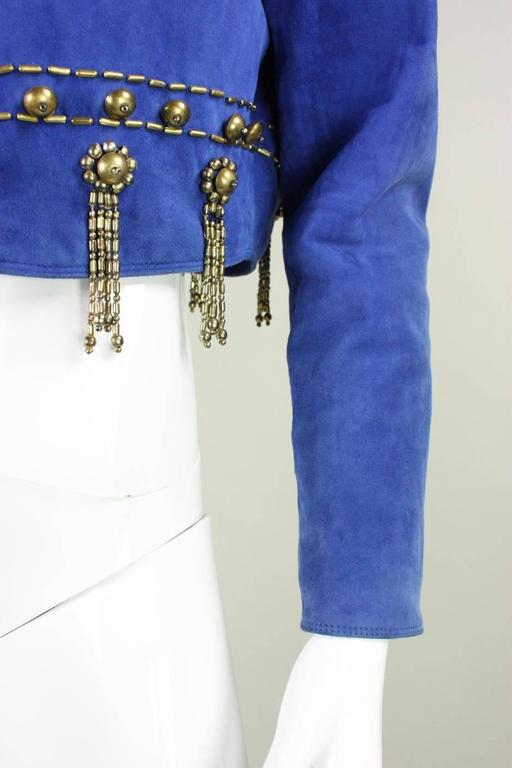 1990's Gianni Versace Beaded Blue Suede Jacket 8