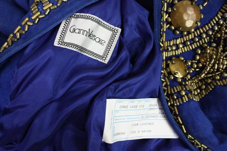 1990's Gianni Versace Beaded Blue Suede Jacket 9