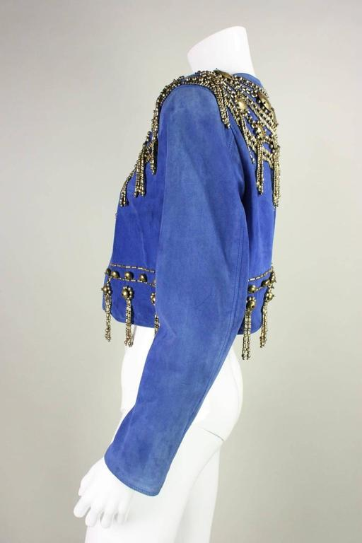 1990's Gianni Versace Beaded Blue Suede Jacket 6