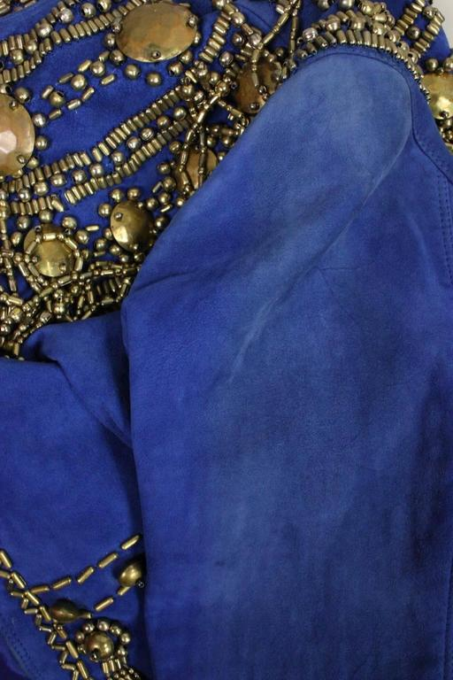 1990's Gianni Versace Beaded Blue Suede Jacket 10