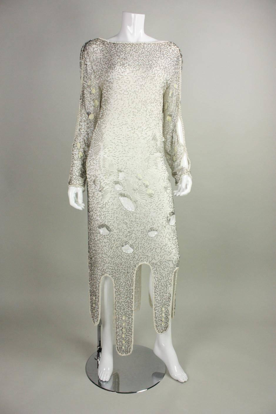 1980's Allover Beaded Dress with Cowl Back at 1stdibs