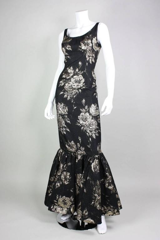 1950's Maxwell Shieff Brocade Fishtail Gown & Wrap 6