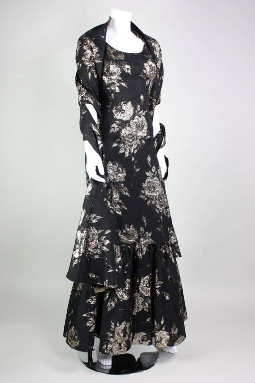 1950's Maxwell Shieff Brocade Fishtail Gown & Wrap 3