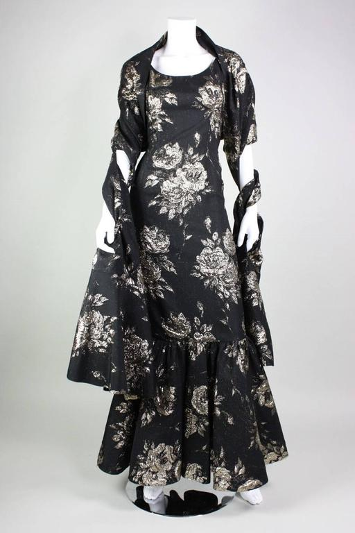 1950's Maxwell Shieff Brocade Fishtail Gown & Wrap 2