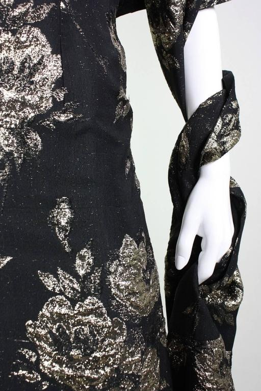 1950's Maxwell Shieff Brocade Fishtail Gown & Wrap 9