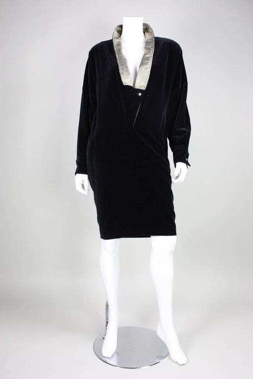 1980's Gianni Versace Black Velvet Cocktail Dress 2