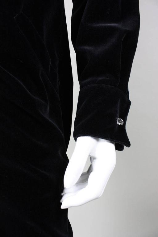 1980's Gianni Versace Black Velvet Cocktail Dress 7