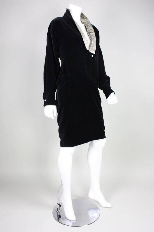 1980's Gianni Versace Black Velvet Cocktail Dress 3