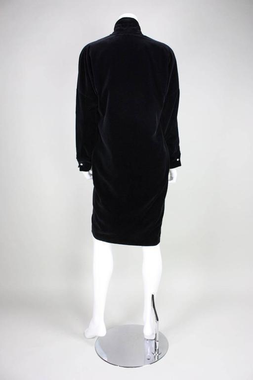 1980's Gianni Versace Black Velvet Cocktail Dress 5