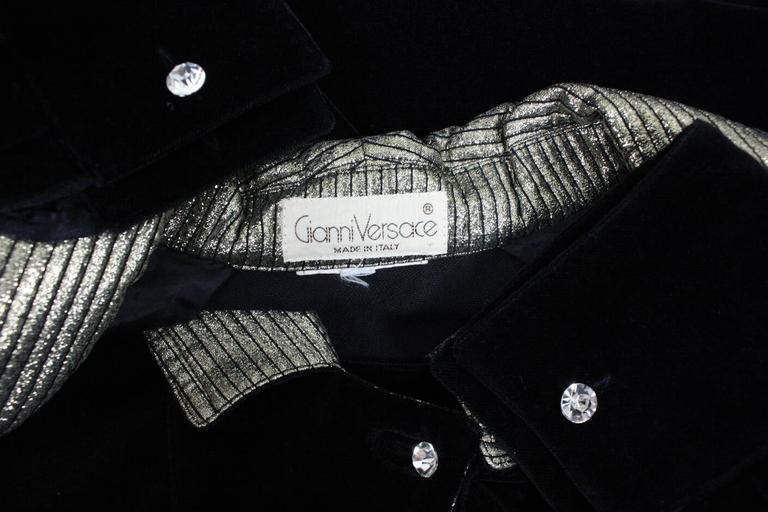 1980's Gianni Versace Black Velvet Cocktail Dress 8