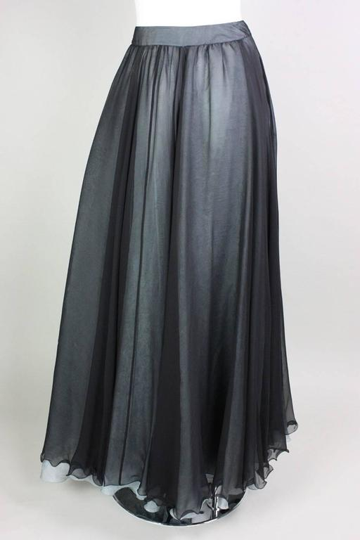 Women's Giorgio Armani Double-Layered Silk Full Skirt For Sale
