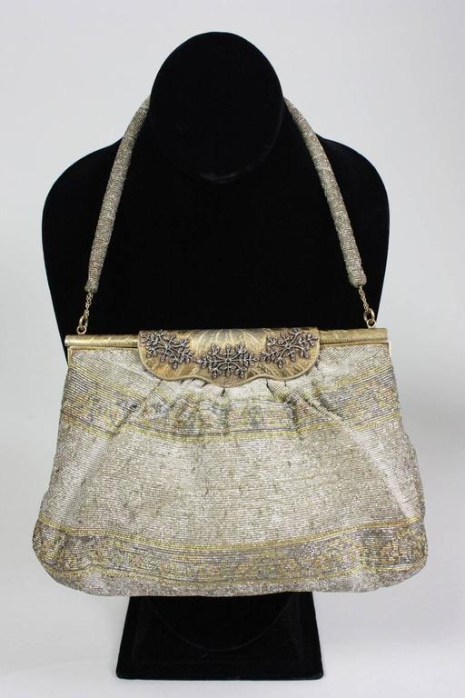 1950's Metallic Beaded Handbag Made in France 5