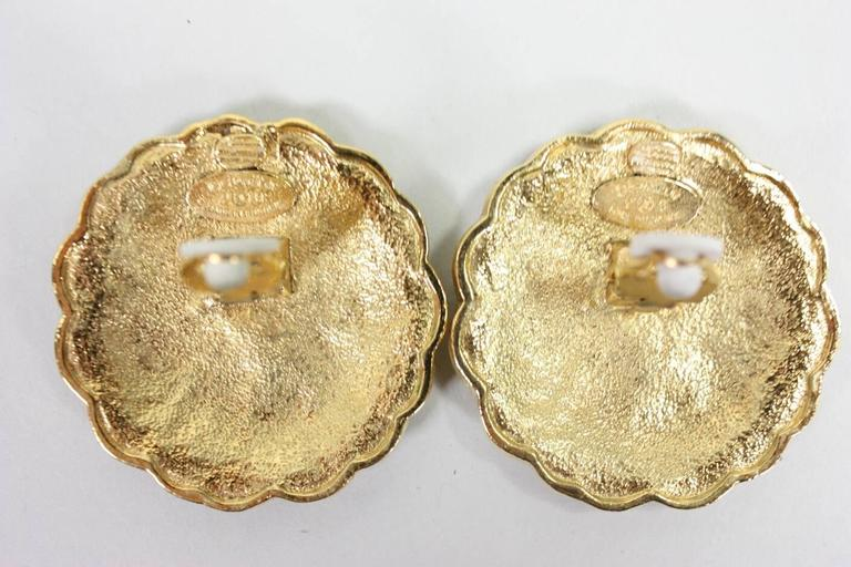 Chanel Gold-Toned Camellia Earrings 3