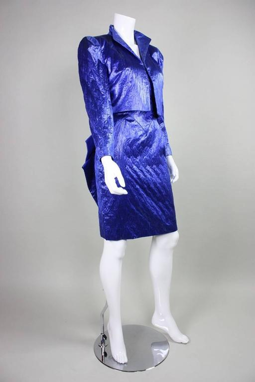 1980's Loris Azzaro Geometric Cocktail Dress & Jacket In Excellent Condition For Sale In Los Angeles, CA