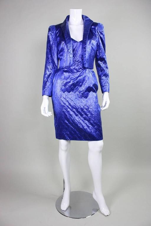 Purple 1980's Loris Azzaro Geometric Cocktail Dress & Jacket For Sale