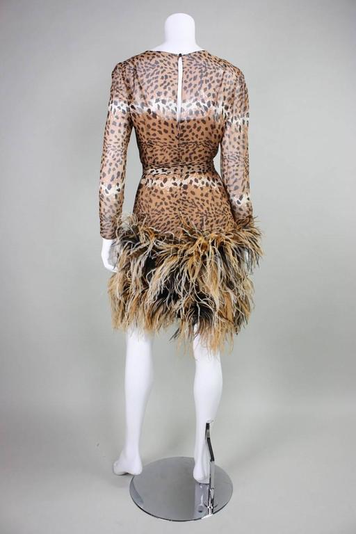 1990 Bill Blass Chiffon Cocktail Dress with Animal Print & Feather Trim 4