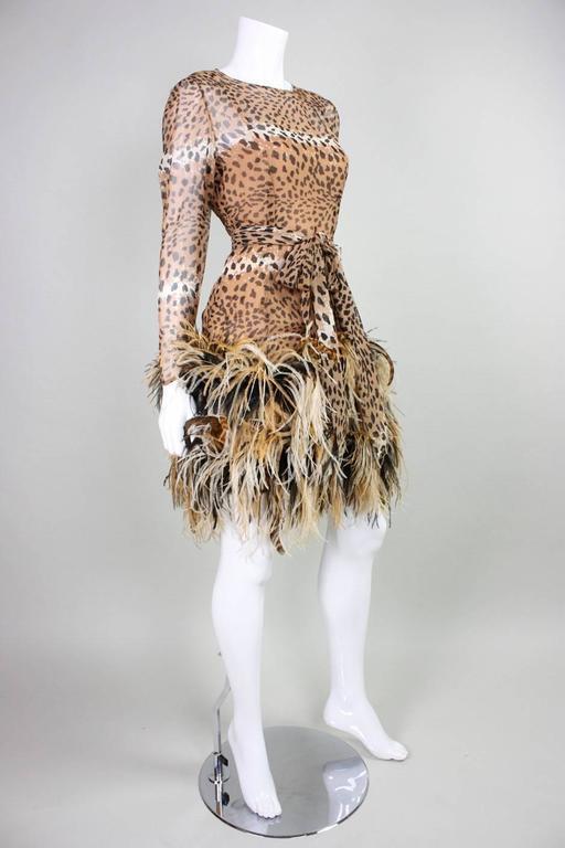 1990 Bill Blass Chiffon Cocktail Dress with Animal Print & Feather Trim 3