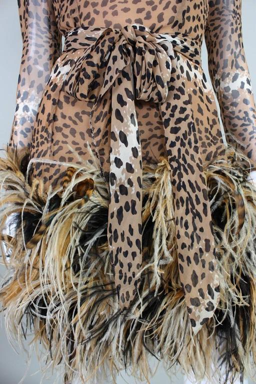 1990 Bill Blass Chiffon Cocktail Dress with Animal Print & Feather Trim 6