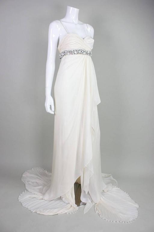 Gray Roberto Cavalli Chiffon Goddess Gown For Sale