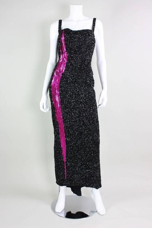 1950s Mr. Blackwell Black Sequined Bombshell Gown 2