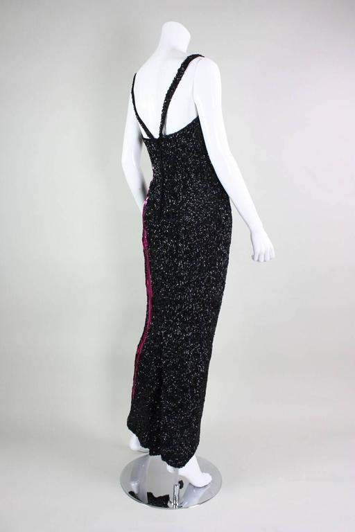 1950s Mr. Blackwell Black Sequined Bombshell Gown 4
