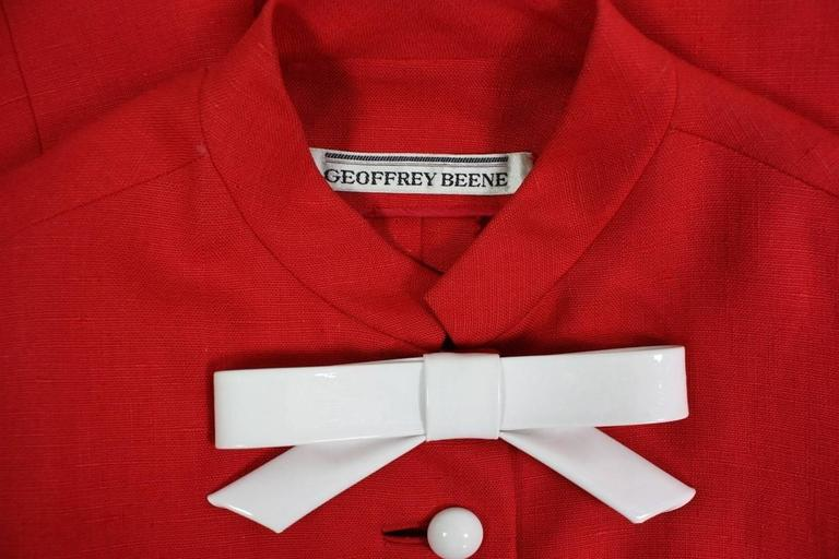 1960's Geoffrey Beene Red Linen Babydoll Dress 7
