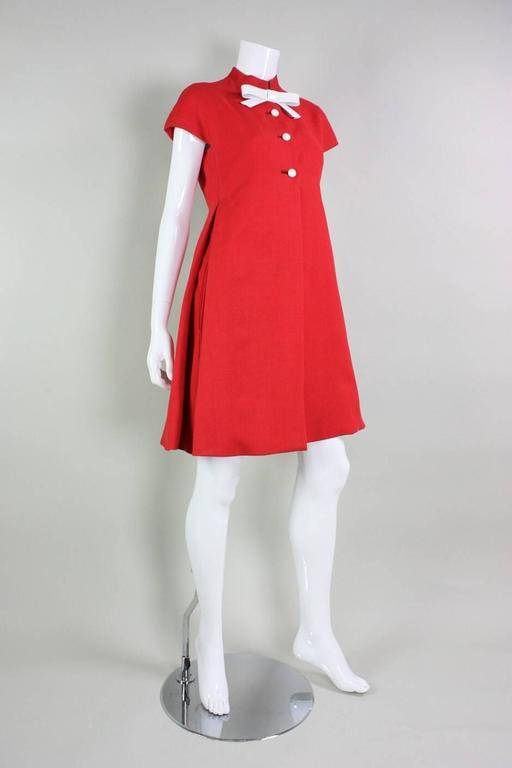 1960's Geoffrey Beene Red Linen Babydoll Dress 2