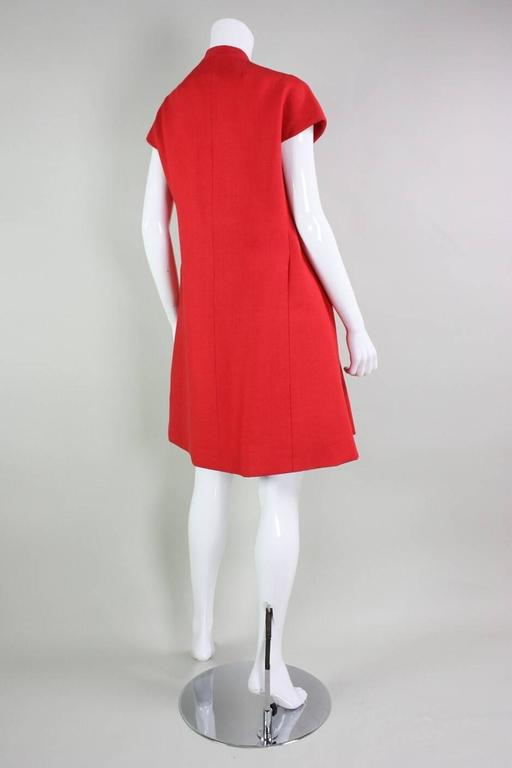 1960's Geoffrey Beene Red Linen Babydoll Dress 3