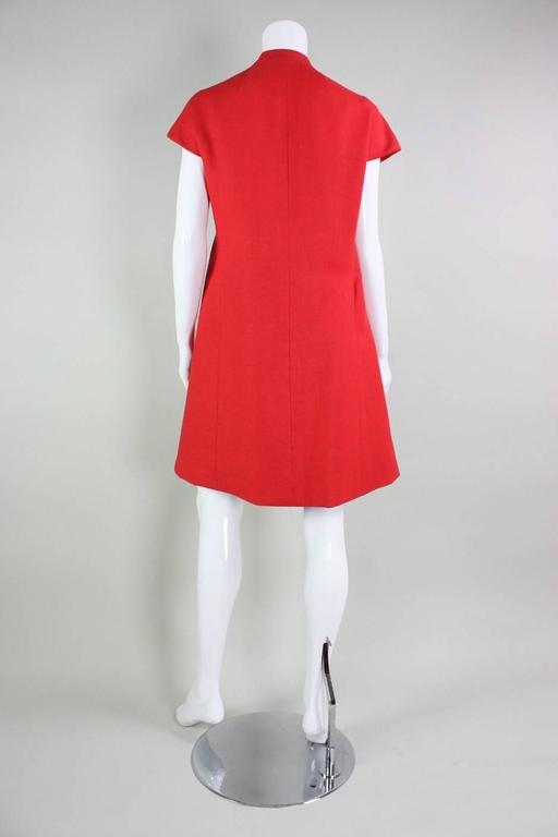 1960's Geoffrey Beene Red Linen Babydoll Dress 4