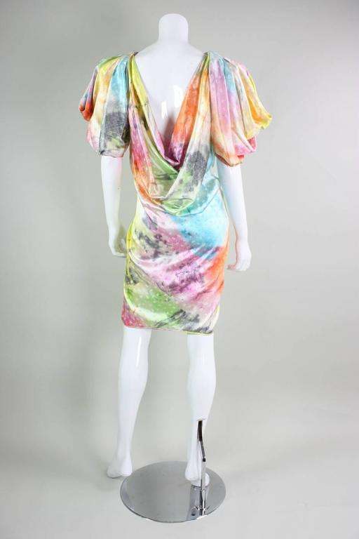 1980's Ungaro Silk Cocktail Dress with Splatter Print 5