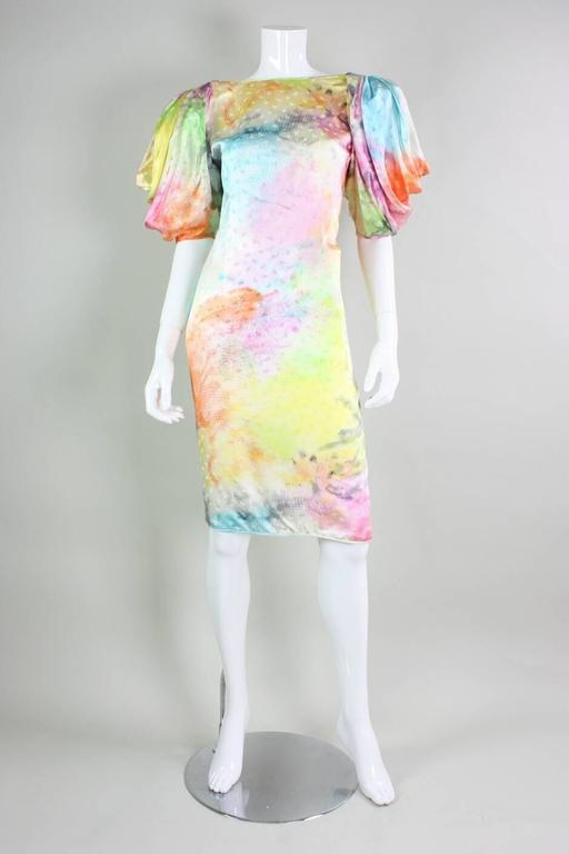 1980's Ungaro Silk Cocktail Dress with Splatter Print 3