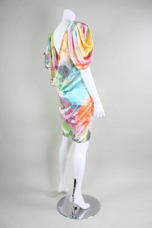 1980's Ungaro Silk Cocktail Dress with Splatter Print 4