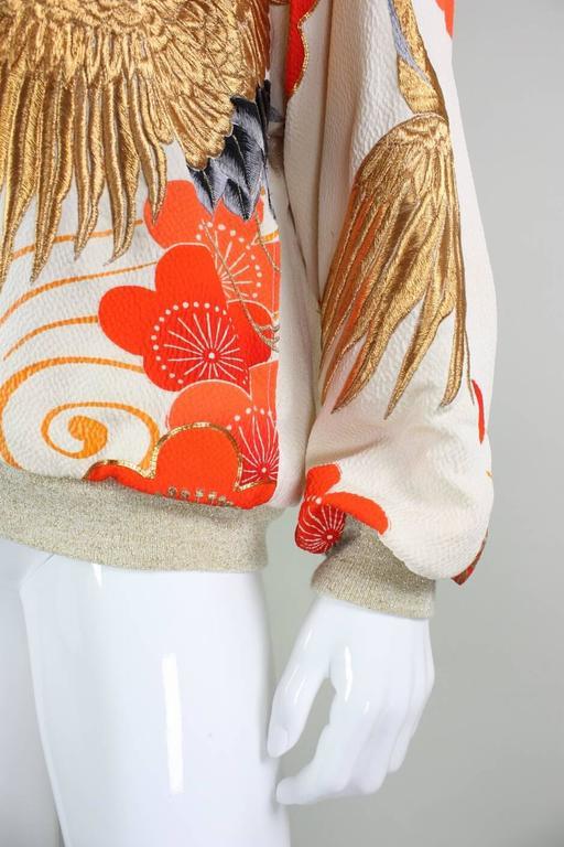 Japanese Kimono Embroidered Bomber Jacket At 1stdibs