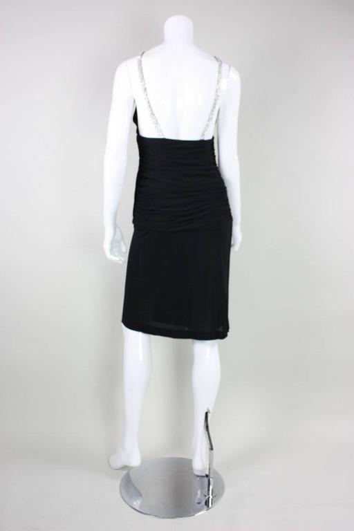 1980's Vicky Tiel Ruched Black Cocktail Dress For Sale 1