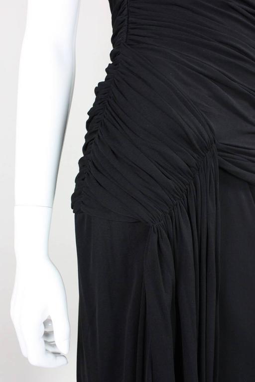 1980's Vicky Tiel Ruched Black Cocktail Dress For Sale 3