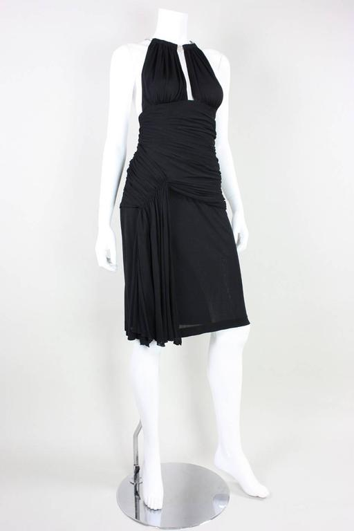 1980's Vicky Tiel Ruched Black Cocktail Dress In Excellent Condition For Sale In Los Angeles, CA