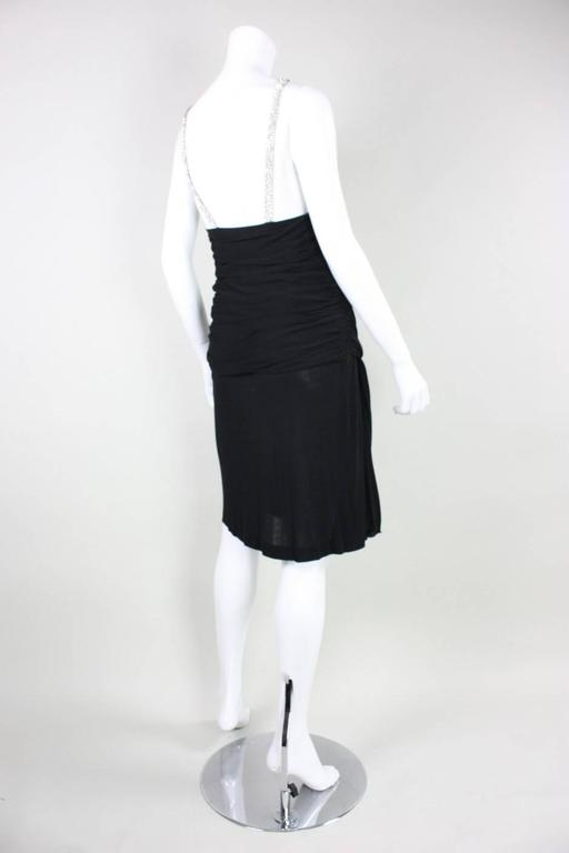 Women's 1980's Vicky Tiel Ruched Black Cocktail Dress For Sale
