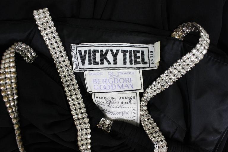 1980's Vicky Tiel Ruched Black Cocktail Dress For Sale 4