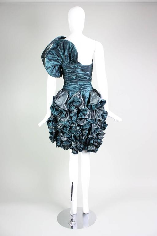 Women's 1980's Christian Dior Green Taffeta Ruffled Cocktail Dress For Sale