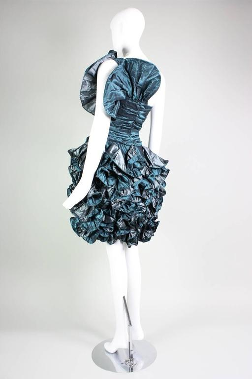 1980's Christian Dior Green Taffeta Ruffled Cocktail Dress For Sale 1